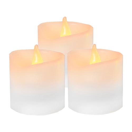 Свеча светильник LED 3 восковых белых свечи h6х5см на бата