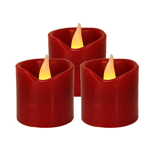Свеча светильник LED 3 восковых красных свечи h6х5см на батарейках