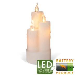 Свеча светильник LED 3 восковых белых свечи h19x8см на бат