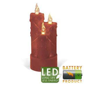 Свеча светильник LED 3 восковых красных свечи h19x8см на б
