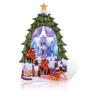 Декорация светодиод Елка с Дедом Морозом на санях 36х22см