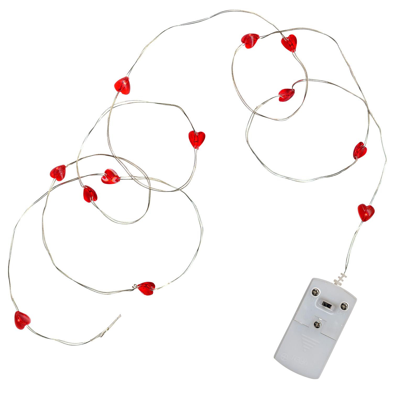 Гирлянда нить  1м красная Сердечки кабель прозрачный батарейки 15диодов LED