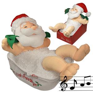 Декорация Дед Мороз купающийся 27х34см муз