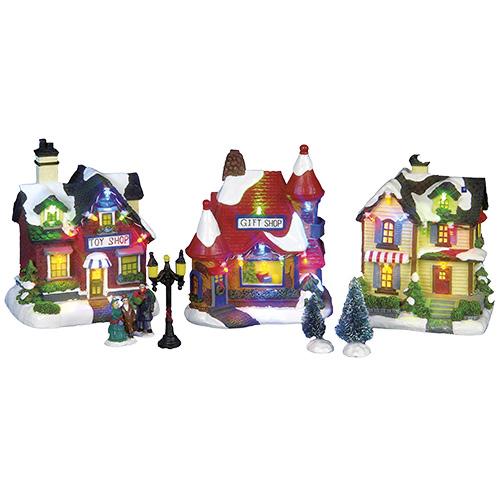 Декорация домики /магазин игрушек набор 13см на батарейках  3шт/уп