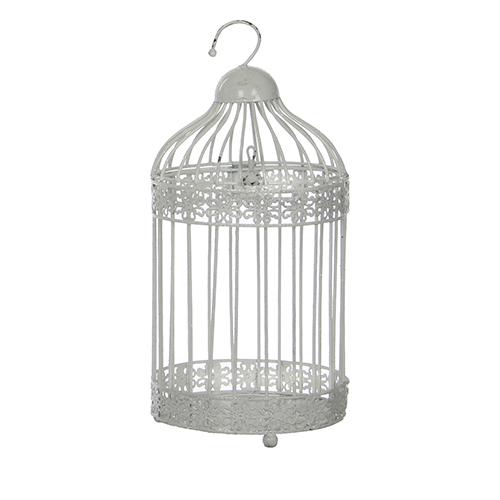 Декоративная птичья клетка белая h20xd13см
