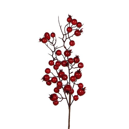Декор Веточка с красными заснеженными ягодами 33см