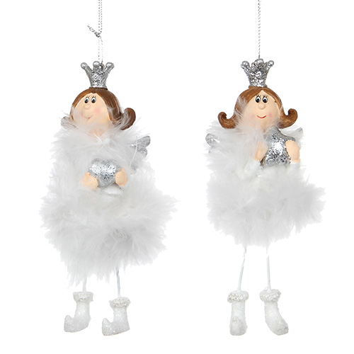 Декор Ангел бело-серебристый 12,5см