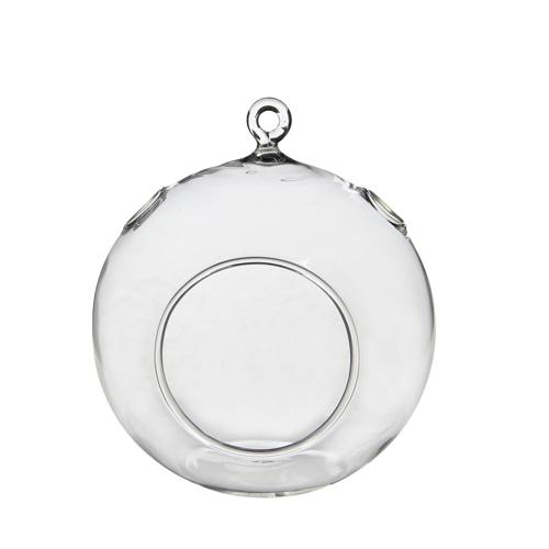 Декор Ваза стеклянная прозрачная подвесная 12х14см