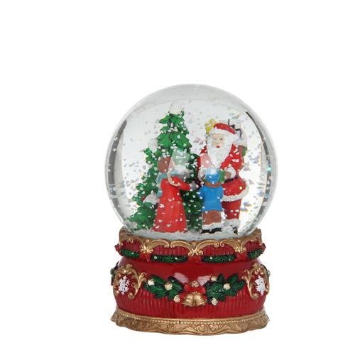 Декорация Шар Санта со снегом музыкальный стекл 10,5х14см