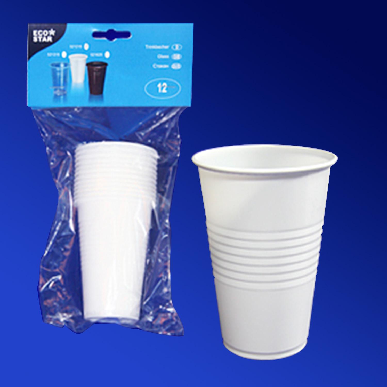 Стакан пластиковый PP 200мл белый  12 шт в уп  для горячих напитков