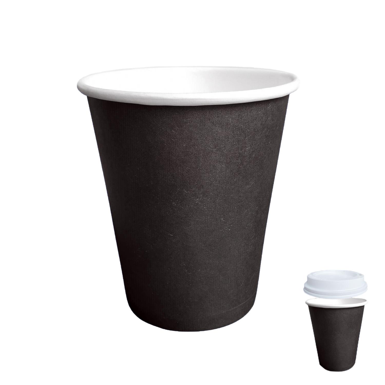 Стакан бумажный 350мл для горячих напитков черный  50шт/уп