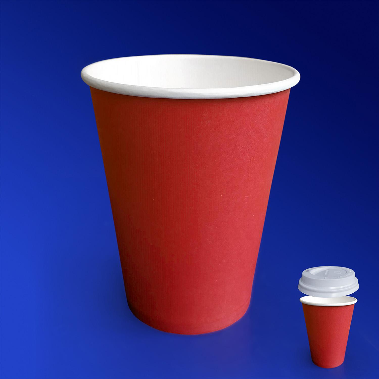 Стакан бумажный 350мл для горячих напитков красный  50шт/уп