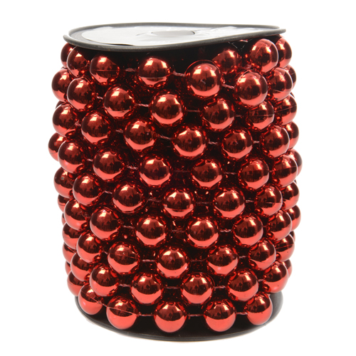 Декор Бусы жемчуг d14ммх5м красные