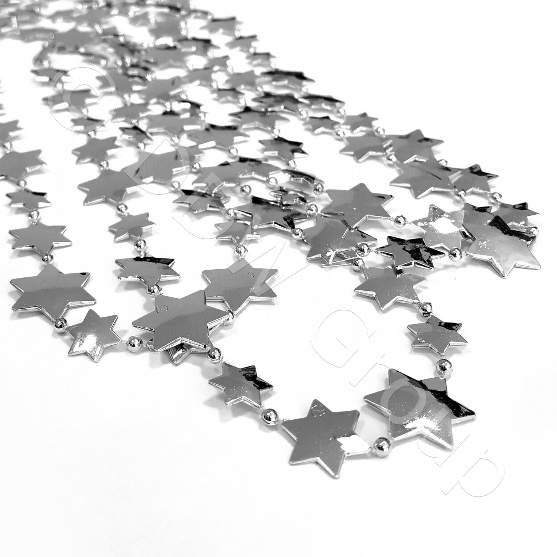 Декор Бусы Звезды серебристые 2,7м