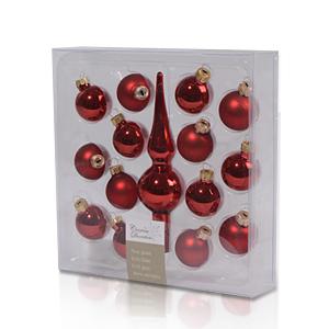 Декор Набор Шар красный глянцевый/матовый d3см с макушкой 15см  15 штук в упаковке