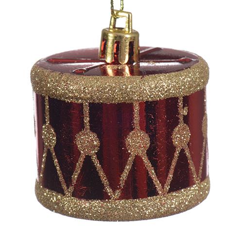 Декор Барабан красно-золотой 4см 2шт/уп