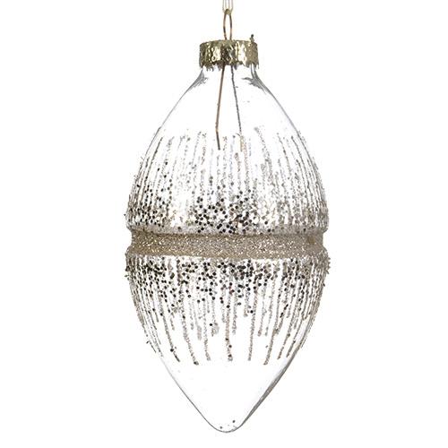 Декор Конус стекло прозрачный с блестками d6 5x12см 2шт/уп