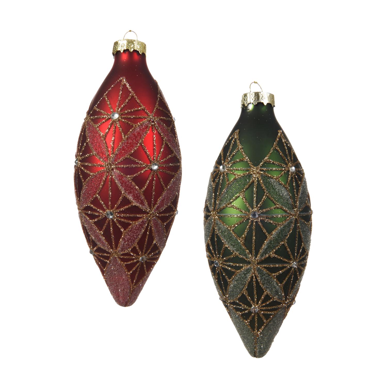 Декор Конус стекло зеленый/красный с ромбовидным узором d7х18см 2шт/уп 2 в ассорт