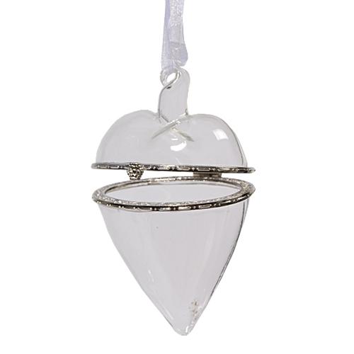 Декор Сердце стеклянное для подарков прозр 7х10см