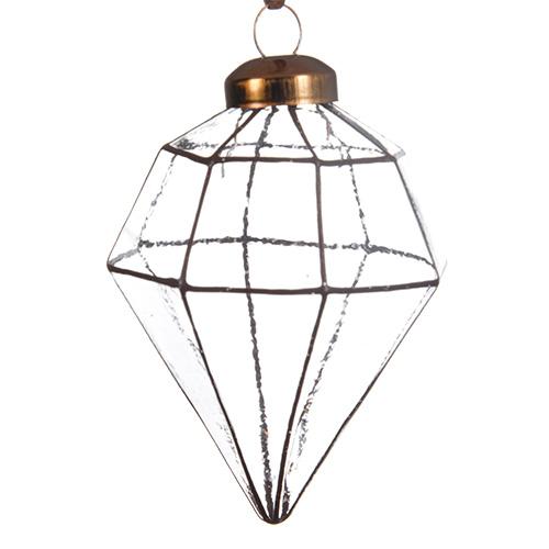 Декор Конус стекло прозрачный с золотыми линиями 7х9,5см 2шт/уп