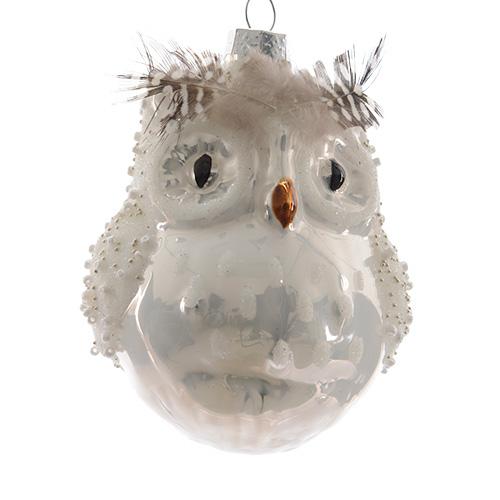 Декор Cова стекло белая с перьями и бисером 10cм 2шт/уп