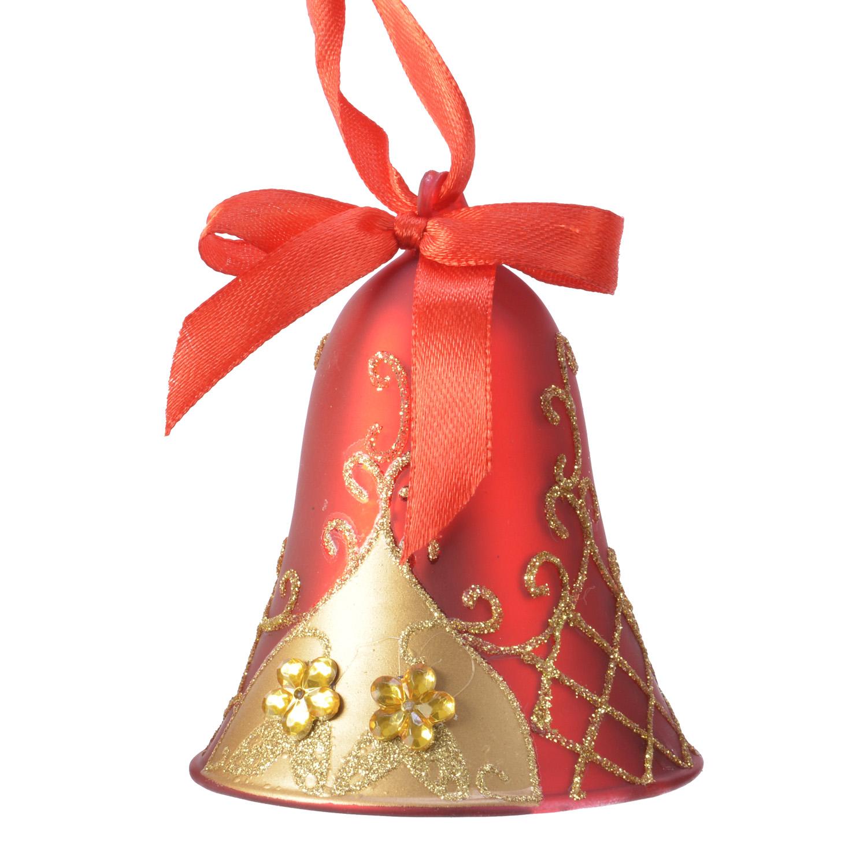 Декор Колокольчик стекло красный/золотой/бордовый 9см 3 в ассорт