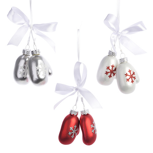 Декор Варежки стекло белые/красные/серебристые 2x4 5x6 5см 3 в ассортименте