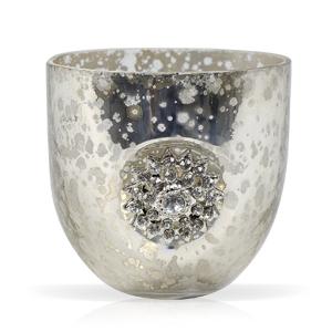 Подсвечник Античный серебряный стекл  6,5х6см