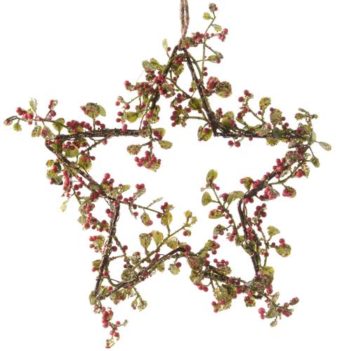 Декор Звезда металлическая с красными ягодами d15см