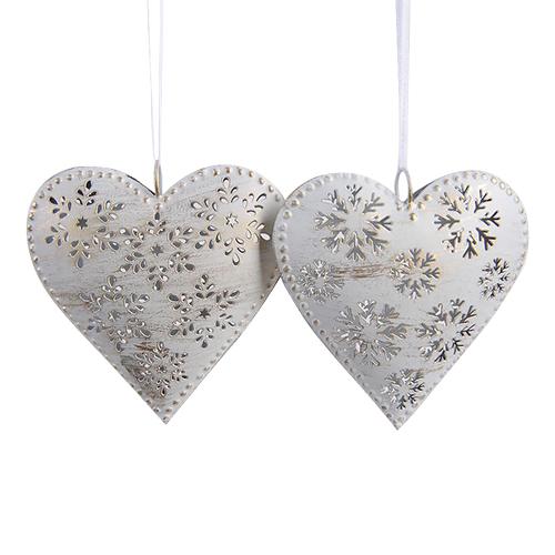 Декор Сердце металлич  резное белое 13см 2 в ассортименте