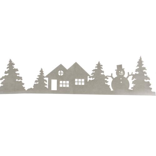 Декор для окон Дом с елками и снеговиком белый 100x25cм