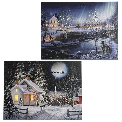 Декор Картина с мерцающими огоньками Ночь перед рождеством 30х40см 4 батареки АА 3диода LED