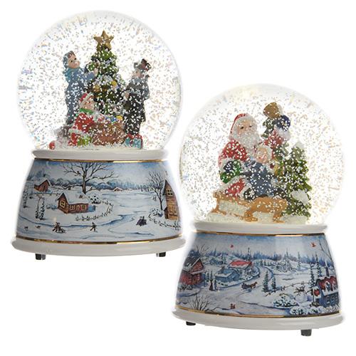 Декорация Шар снежный 11x11x14 5cм музыкальный 3 батарейки ААА теплобелый LED indoor