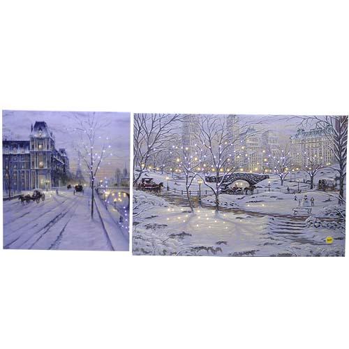 Декор Картина с мерцающими огоньками Париж/Нью Йорк LED 40x60