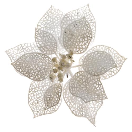 Декор Звезда рождественская белая пластиковая d17см