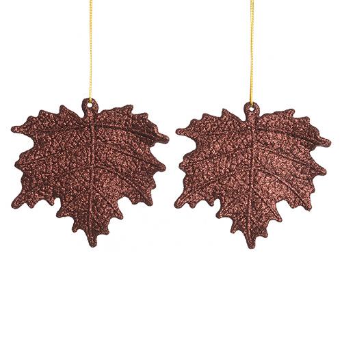 Декор Лист шоколадный с блеском 10,5см 2шт/уп
