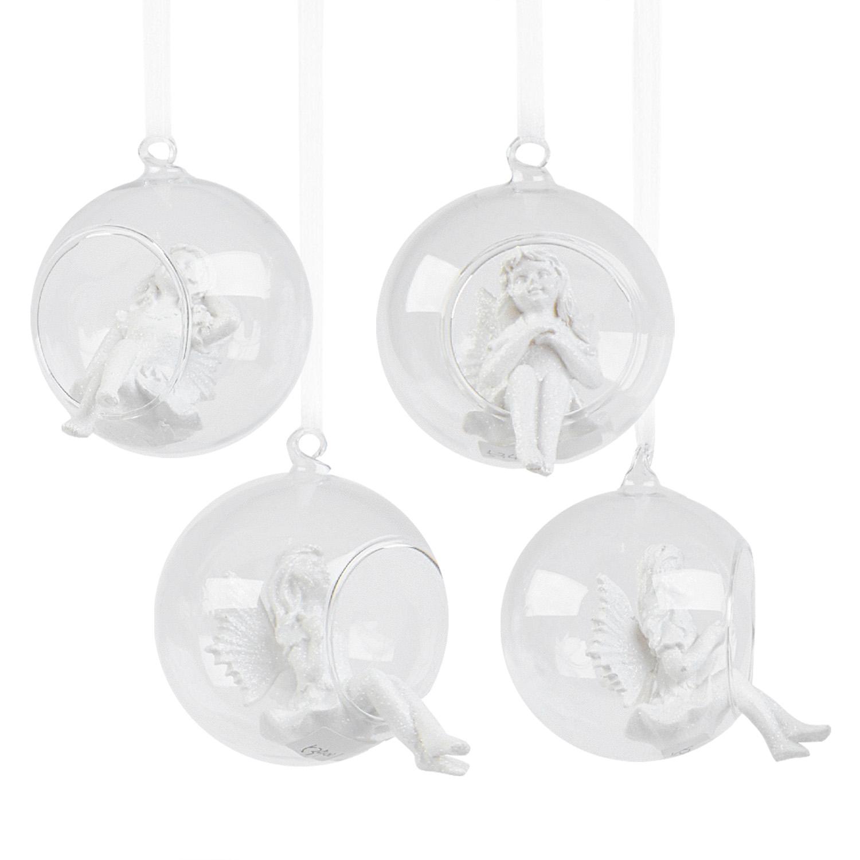 Декор Ангел в ассортименте  в стеклянном прозрачном шаре d8см