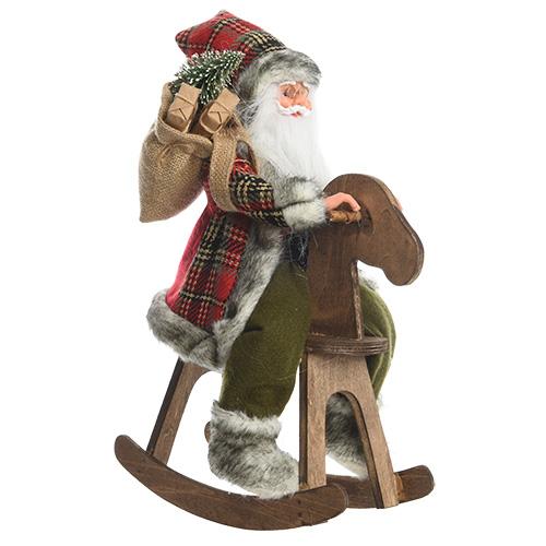 Декор Санта на лошадке-качалке 35см