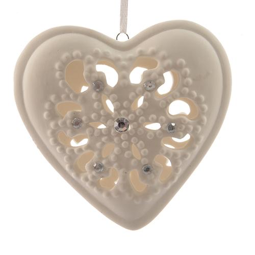 Декор Сердце из фарфора белое кружевное со стразами  d10,5x3cм