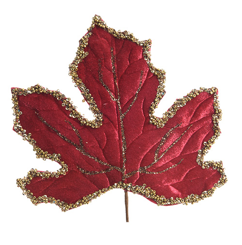 Декор Лист бархат красный с золотой каемкой 18см