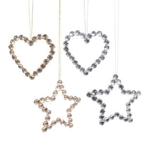 Декор Звезда/Сердце золотые/серебристые d13см