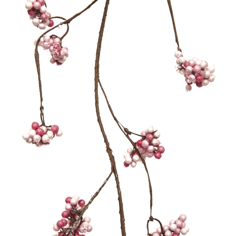 Декоративная гирлянда веточка с розовыми ягодами и льдом 105см