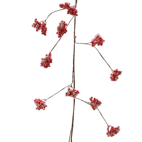 Декоративная гирлянда веточка с красн  ягодами и льдом 105см