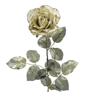 Декор Роза из шелка золотая h=76см
