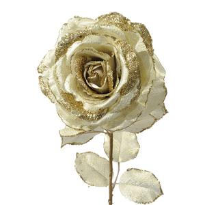 Декор Роза на стебле из шелка золотая с блеском h56см