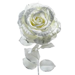 Декор Роза на стебле из шелка  белая с блеском h=56см