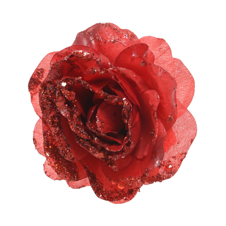 Декор Роза красная с блеском d14см