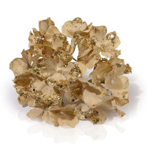 Декор Гортензия золотая с блеском 16 см