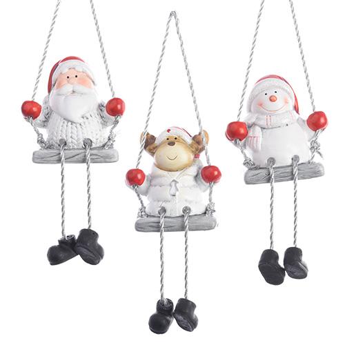Декор Дед Мороз/Снеговик/Олень на качелях 8см 3 в ассортименте