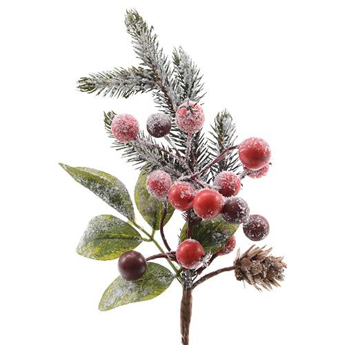 Веточка еловая  20см заснеженная с красными ягодами и шишками